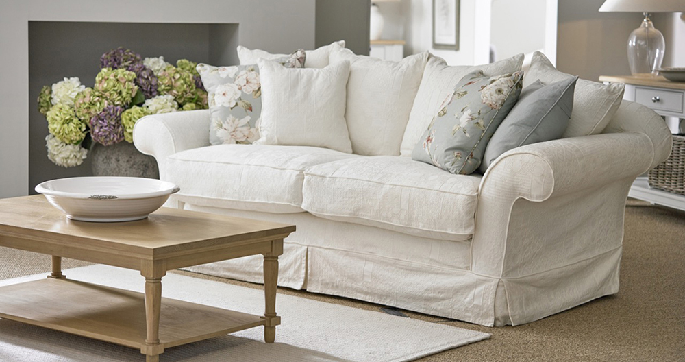 Alicia loose-covered shabby chic sofa from Tetrad