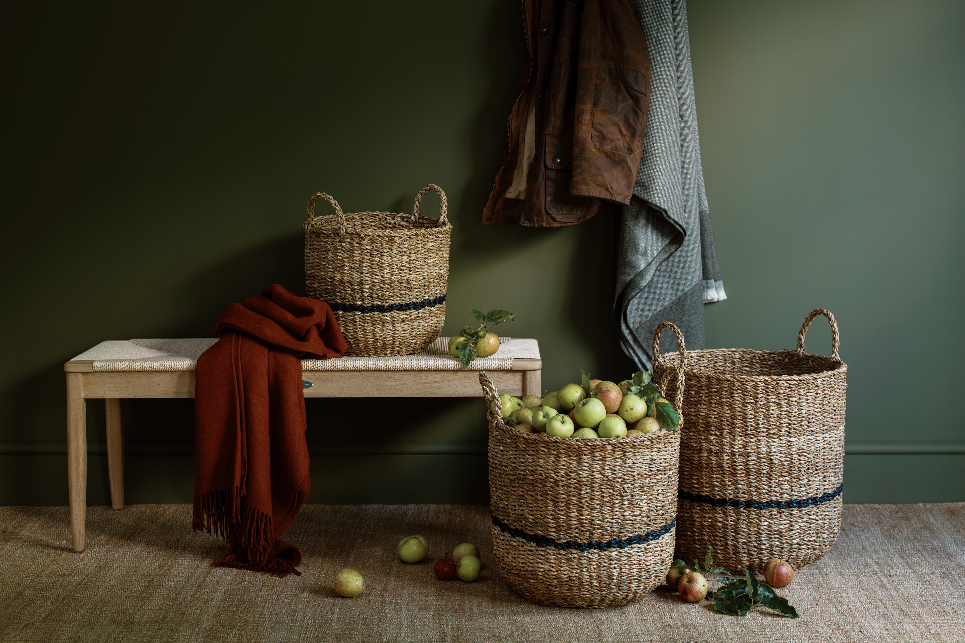 Olive hallway with baskets